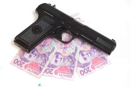 A hand Gun and Money set on a white background base