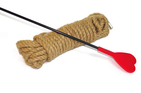 Brown bondage rope and whip
