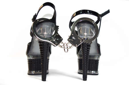 High heels shoes and handcuff