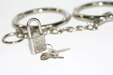 Small silver lock on handcuff background