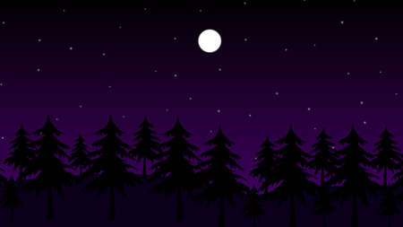 Stars and the moon in a dark forest at night vector background