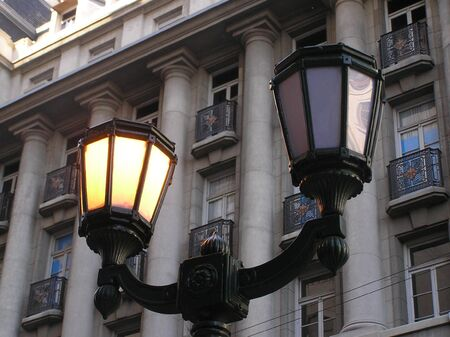 dimmer:  lanterns old one turned off the other on Stock Photo