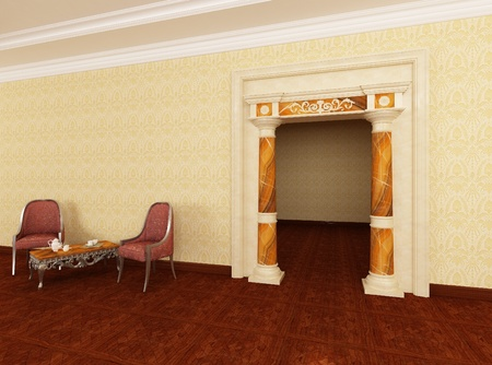 3dmax: Classic portal in interior Stock Photo