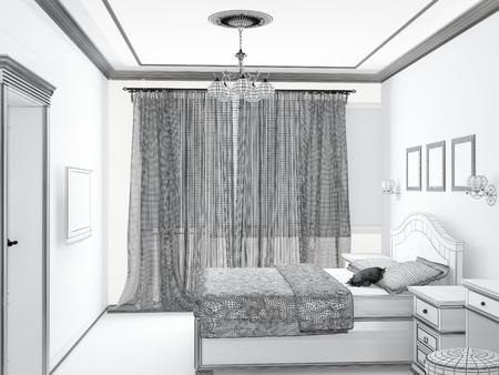bedchamber: sketch of an interior home bedroom