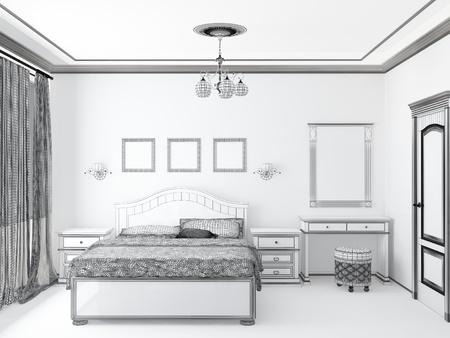 bedchamber: sketch of an interior home bedroom