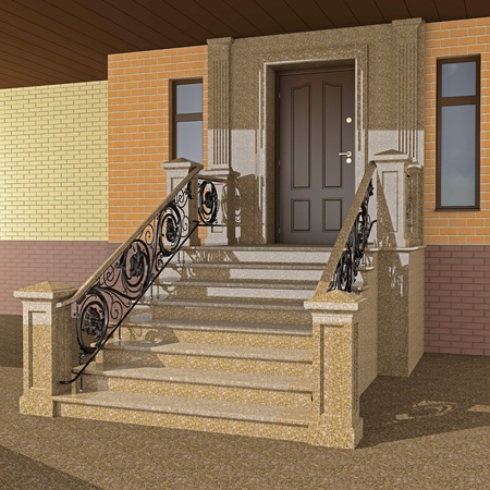 balustrade: Beautiful entrance area to the house with wrought iron railings