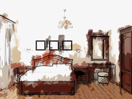 Sketch bedroom   colorful and stylized Stock Photo - 18765486