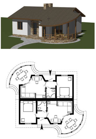 front elevation: Model home, 3D rendering Stock Photo
