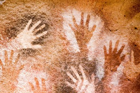 pintura rupestre: Pintura antigua cueva en la Patagonia, Argentina  Foto de archivo