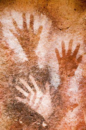 jaskinia: Ancient malowidła w jaskini Patagonia, Argentina.