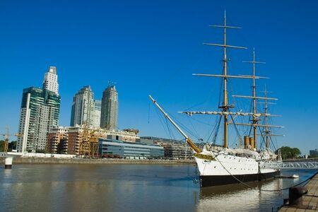Old frigate. Buenos Aires harbor. Stock Photo