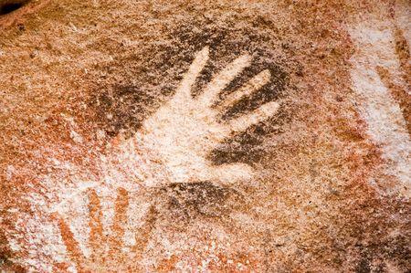 pintura rupestre: Antiguas pinturas rupestres en la Patagonia, Argentina  Foto de archivo
