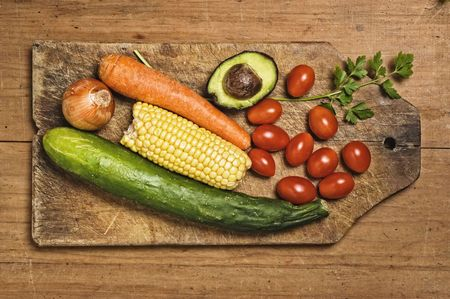 Vegetables on wooden table. photo