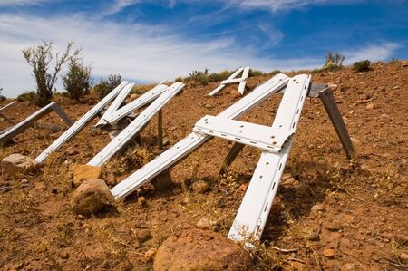 patagonian: letters on the ground in the patagonian steppe
