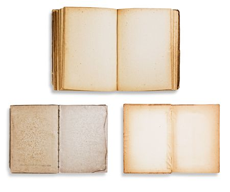 yellowish: Assorted old books isolated on white background with clipping path.