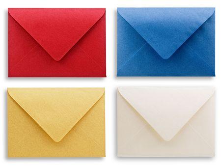 open envelope: assorted envelopes white background