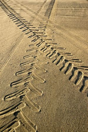 Tractor and car tracks in the sand. photo