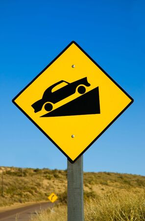 Traffic sign in a road in Patagonia. photo