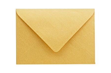 envelope: Golden envelope on white background, close up, studio shot.