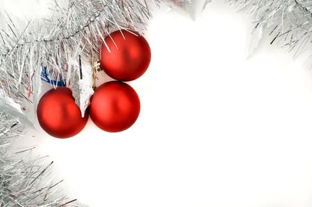 christmas decorations with white background: Christmas decorations white background with copy space.