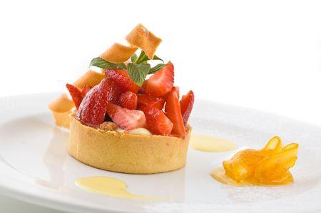 sweetmeats: Sweet dessert with strawberries, on white, studio shot.