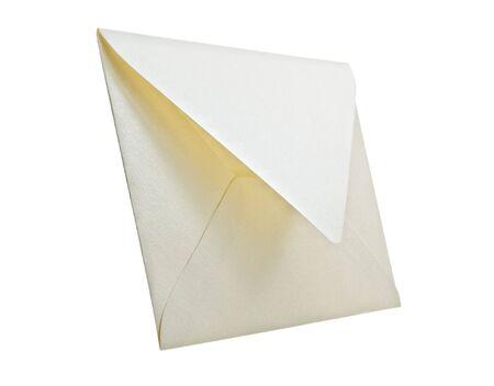 notification: Envelope isolated on white background, studio shot.