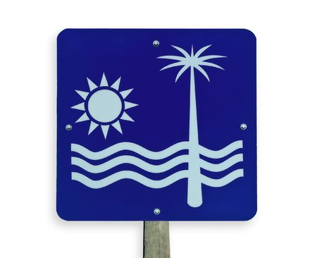 Road sign with beach, sun and palm tree. Clipping path. photo