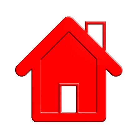 home icon: Red house isolated Stock Photo