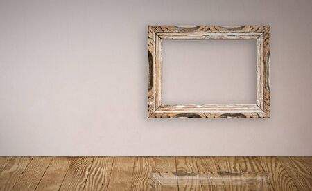 Picture frame over an old wall interior. Stock Photo - 4089448
