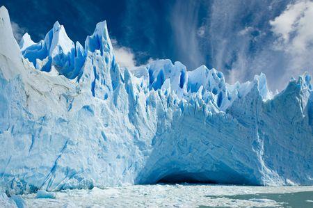 icescape: Cave in the ice, Perito Moreno glacier, Patagonia Argentina. Stock Photo