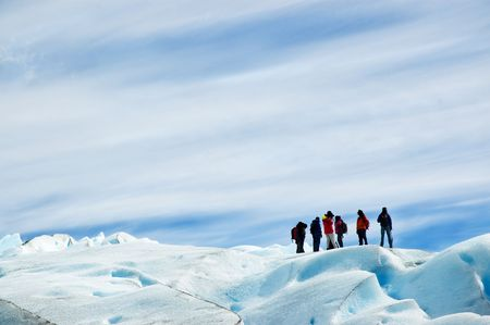 Ice trekking in perito moreno glacier, patagonia argentina. Stock Photo