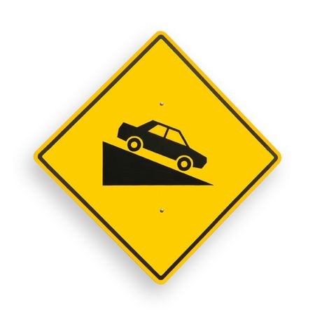 excludes: Traffic sign isolated on white, path excludes shadow. Stock Photo