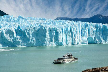 icescape: Boat sailing near Perito Moreno glacier, in Patagonia, Argentina.