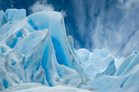 Ice forms on the surface of Perito Moreno Glacier, Patagonia, Argentina. Stock Photo