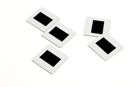 Bunch Of Slides With Plastic Frames On Llightbox Close Up Blank