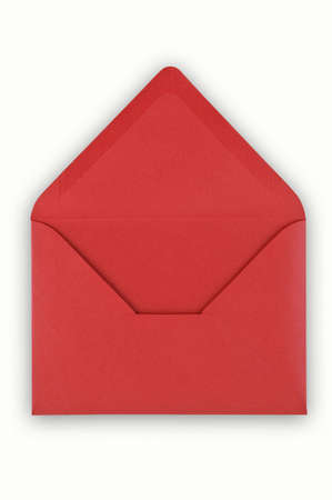 old envelope: Open red envelope on white background Stock Photo