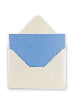 excludes: Open blank white envelope with blue paper inside, isolated, path excludes the shadow.