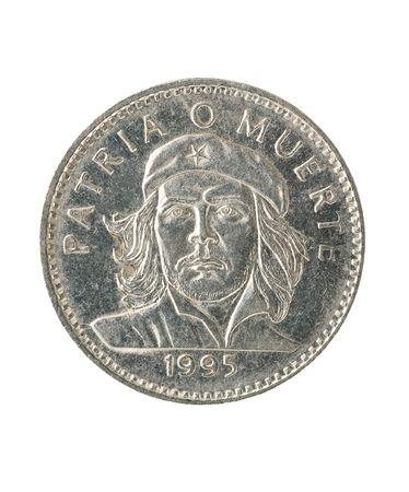 che guevara: Cuban peso coin with portrait of ernesto che guevara, white background