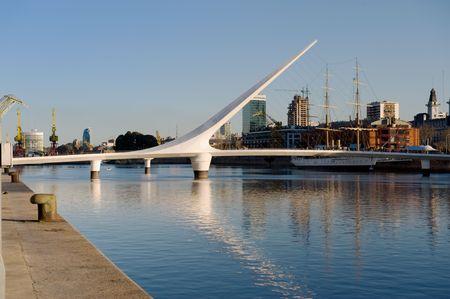 puerto: Women´s bridge in Puerto Madero, Buenos Aires, Argentina. Stock Photo