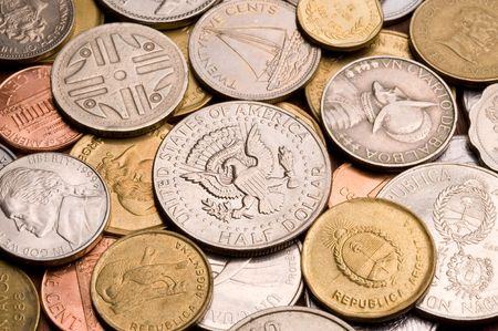 Background of assorted coins from different countries, close up. Stock Photo - 5400148