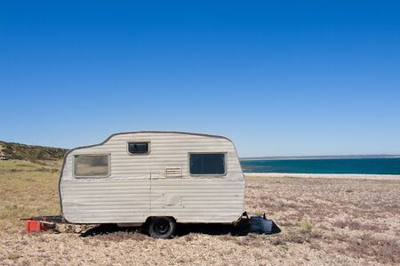 motor home: Lonely trailer by the shore, Valdes Peninsula, Patagonia Argentina.