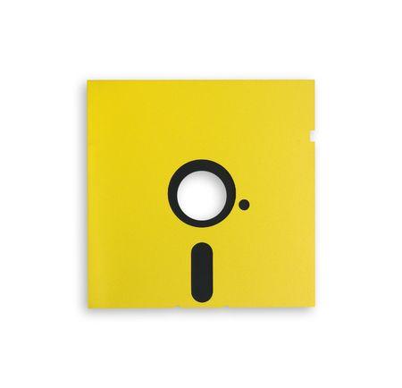 Yellow vintage floppy disk photo