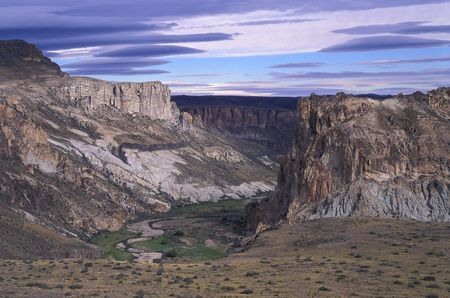 Beautiful Landscape of a Patagonia Canyon during dusk. Argentina, Santa Cruz province.  photo