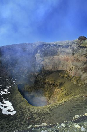 Crater of the Villarica volcano, chilean patagonia. photo