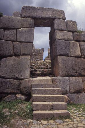 Sacsayhuaman walls, ancient inca fortress near Cuzco, Peru. Stock Photo