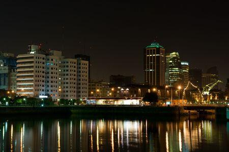 Puerto Madero neighbourhood at Night, Skyline, Buenos Aires, Argentina.    Stock Photo