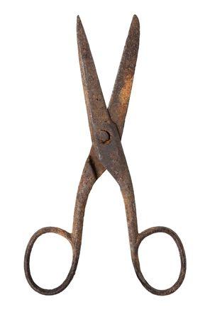 antique scissors: Forbici di metallo arrugginito vecchio isolato su sfondo bianco,  Archivio Fotografico