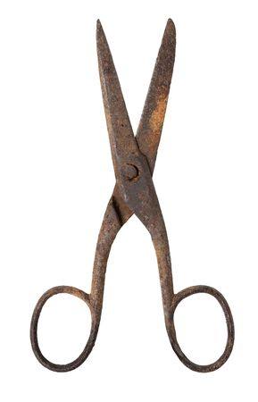 barber scissors: Old rusty metal scissors isolated on white background,  Stock Photo