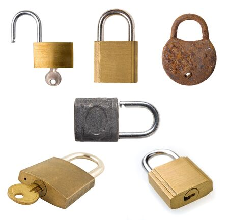 Collection of different old padlocks on white background. photo