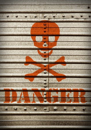 toxic: Steel plate background wiht hazard symbol and danger text. Stock Photo